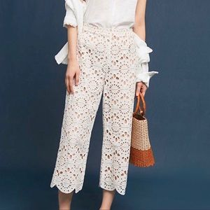Red Carter Anthropologie Lace Cropped Pants M